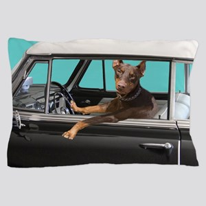 Doberman Pinscher in Classic Car Pillow Case